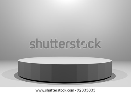 3D Stage with light from above isolated grey room