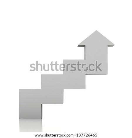 3d stairway and arrow