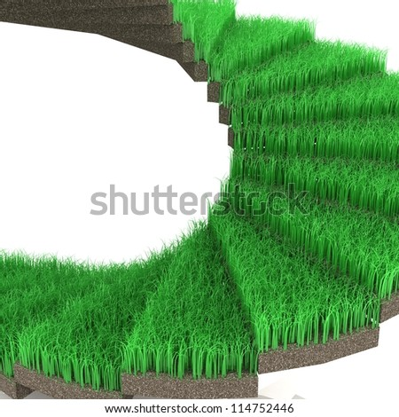 3D stairway covered with green grass.