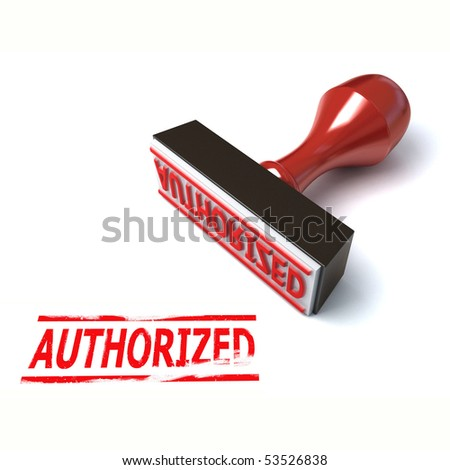 3d stamp authorized - stock photo
