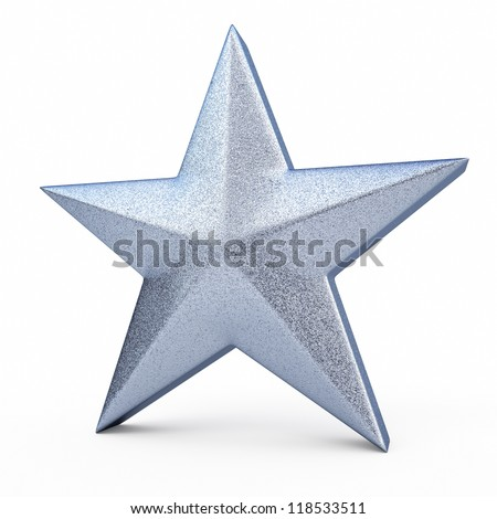 3d star object render (isolated on white and clipping path)
