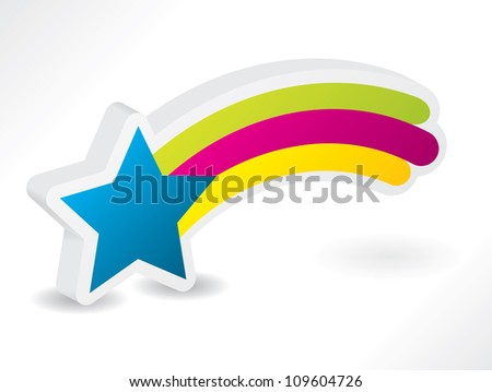 3d star with rainbow and shadow