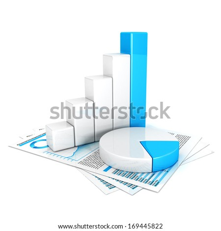3d statistics, isolated white background, 3d image