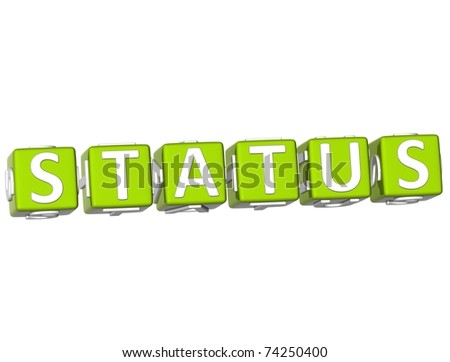 3D Status Cube text on white background