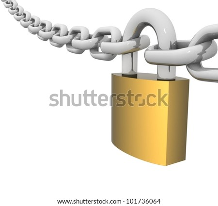 3d steel chain with a brass lock and key