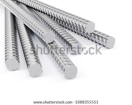 3d steel reinforcements rebar, metal or construction industry  on white background