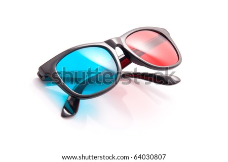 3-D stereoscopic red, cyan cinema glasses on white background