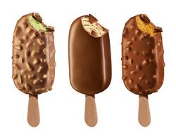 3d stick ice cream chocolate and  almonds