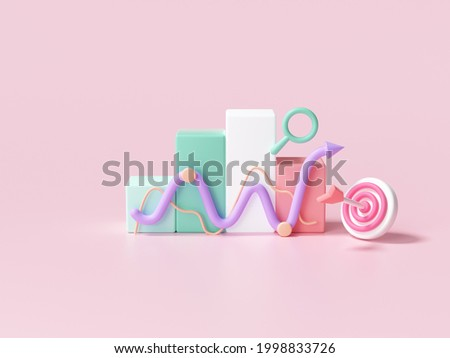 3D Stock chart and Arrow hit the center of the target. Business target achievement concept.3d render illustration