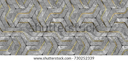 3D stone geometry panels with gold decor. Realistic geometric modules. High quality seamless 3d illustration.
