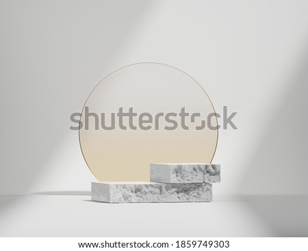 3D stone podium display on white background. Round beige frosted glass rim frame. Cosmetics, beauty product promotion pedestal.  Natural rough grey rock showcase. Abstract minimal studio 3D render