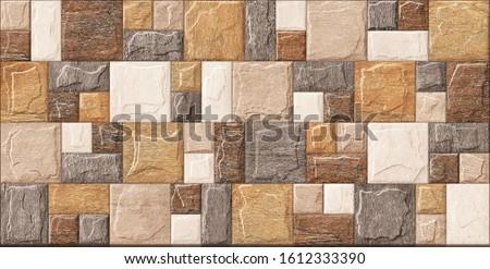 3d stone tiles for digital wall tiles tor b brown colour  stone Stock fotó ©