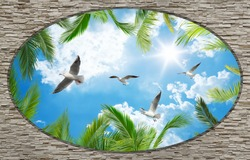 3D stone wall ceiling wallpapers,palm tree and seagull