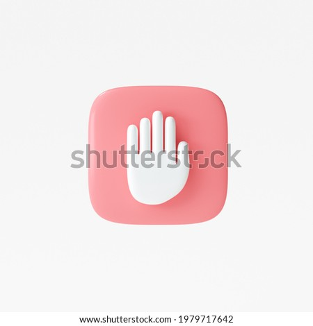 3D Stop sign, hand stop symbol, traffic stop, restricted and dangerous signs isolated white background. 3d render illustration