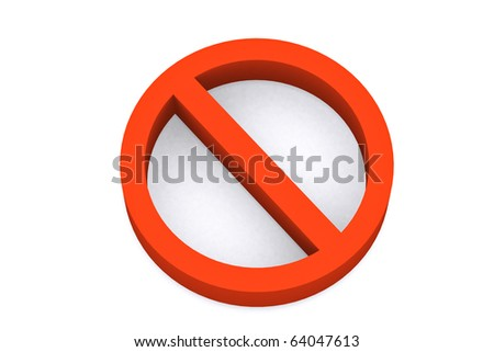 3d stop symbol on white isolated background