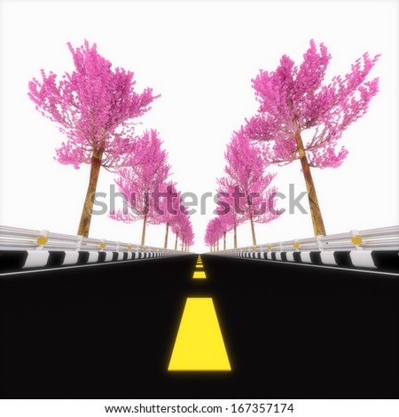 3d street in the fog with tree pink. - stock photo