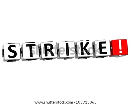 3D Strike Button on white background