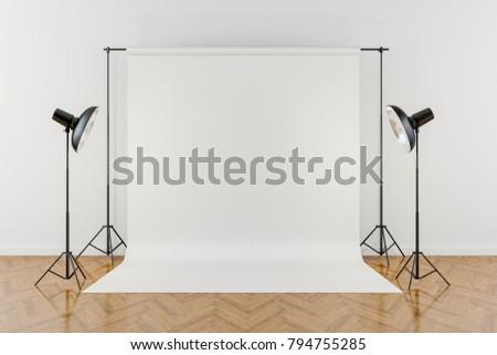 3d studio setup with white background
