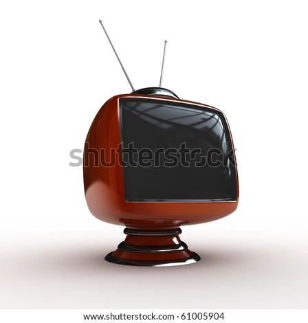 3d  Stylish classic tv isolated
