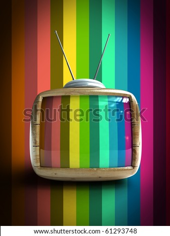 3d Stylish wooden classic tv -colorful no signal background