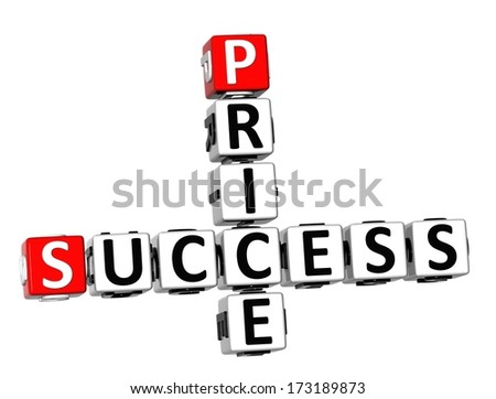 3D Success Price Crossword on white background