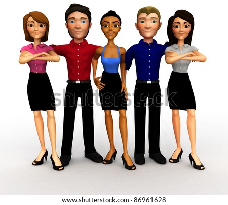 3D successful business group - isolated over a white background