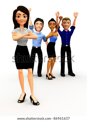 3D successful business group with arm up - isolated