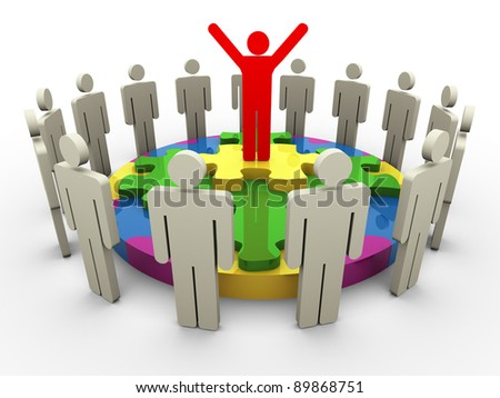 3d successful team leader standing on circle puzzle with his team member