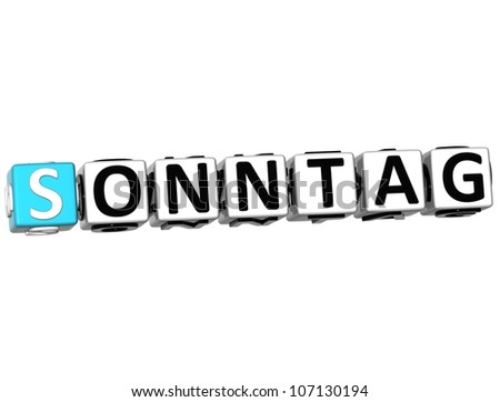 3D Sunday In German Language Button Click Here Block Text over white background