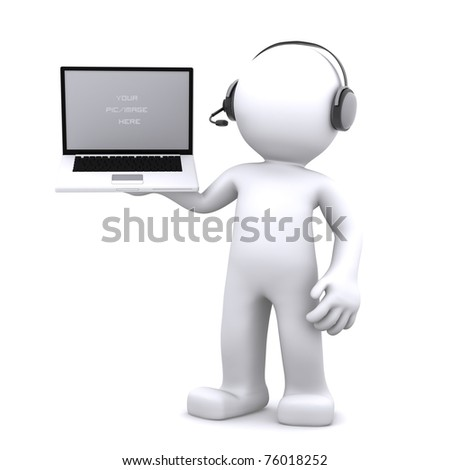 3d Support phone operator in headset rendered on white background