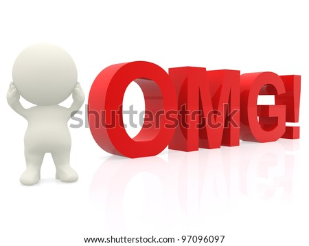 3D suprised man - OMG expression isolated over a white background