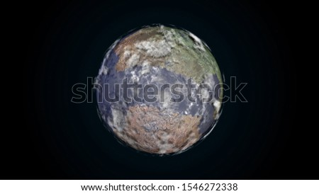 3D surface of planet Earth with atmosphere, cloud flows and land relief with water stock photo