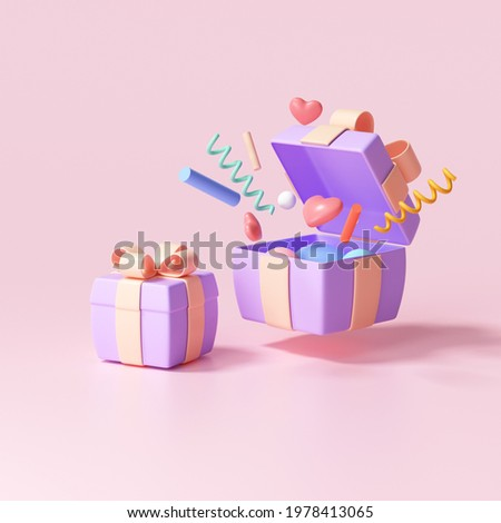 3D surprise gift box, open gift box with objects explosion, greeting, lucky, special offer concept. 3d render illustration
