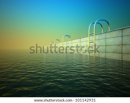 3d swimming pool with stair, background