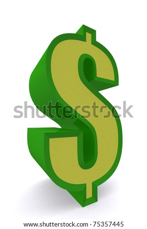 3d symbol dollar money in green glossy color