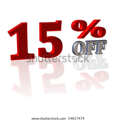 3D Symbol from discount percentage with reflection - stock photo