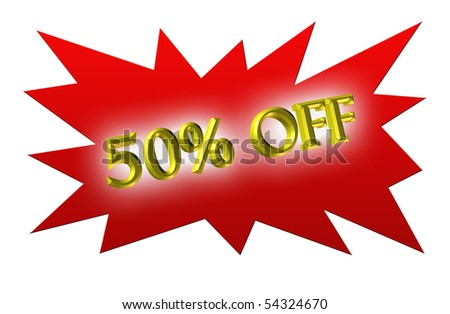 3D symbol from 50% off in red background