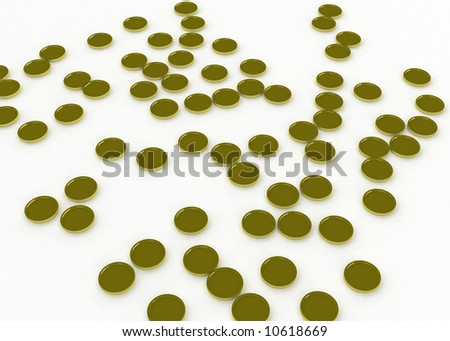 3d symbolic gold coins on a white surface