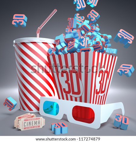 3D symbols falling in package, soda, 3D glasses and movie tickets, ready for the film.