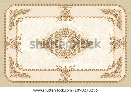 3-D symmetric ceiling painting in classic style with gold ornaments on beige marble background Сток-фото ©