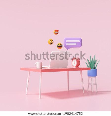 3D Table and laptop with bubbles chat and emojis for work from home and online chatting concept. 3d render illustration