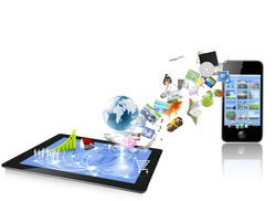 3d tablet computers and mobile phone isolated on white background