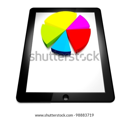 3d tablet pc and business diagram