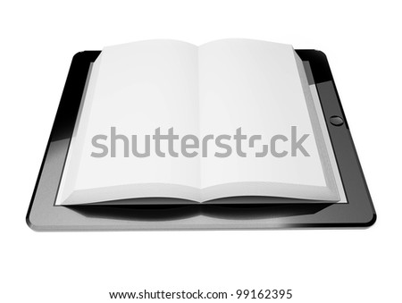 3d tablet pc screen, concept of ebook