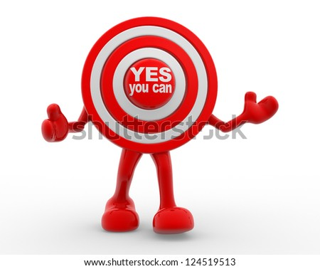 "3d target and text ""Yes you can"". 3d render"