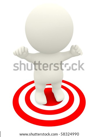 3D target man with arms up isolated over a white background