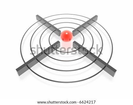 3d target with green sphere