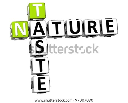 3D Taste Nature Crossword text over white background