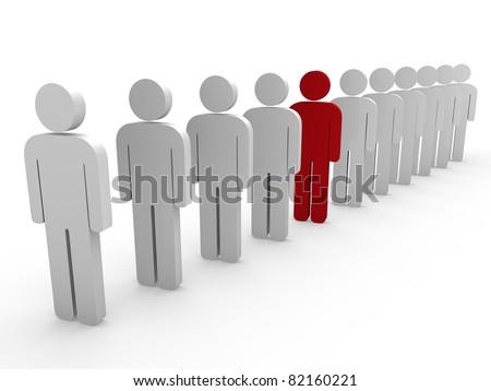 3d team leader boss company red teamwork