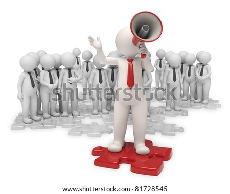 3d team standing on gray puzzle pieces while their leader making an announcement with a red megaphone - Isolated